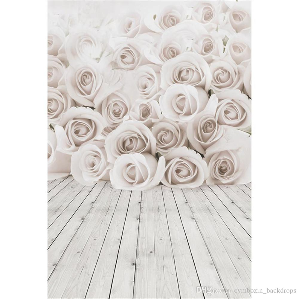 Wedding White Background: 2019 Digital Printed 3D White Roses Wall Wedding Floral