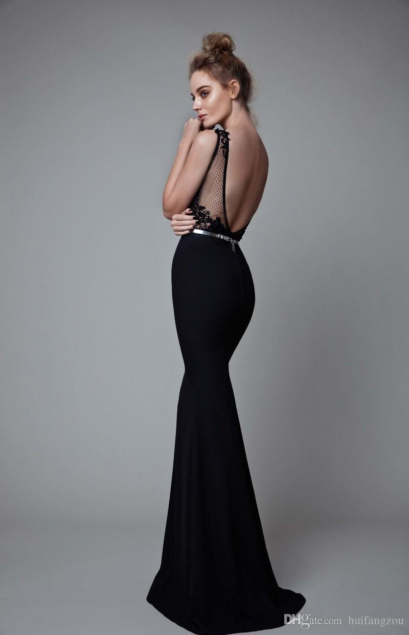 Berta 2019 Mermaid Prom Dresses Black Backless Lace Applique Sweep Train Evening Gowns Sleeveless Illusion Neck Formal Dresses