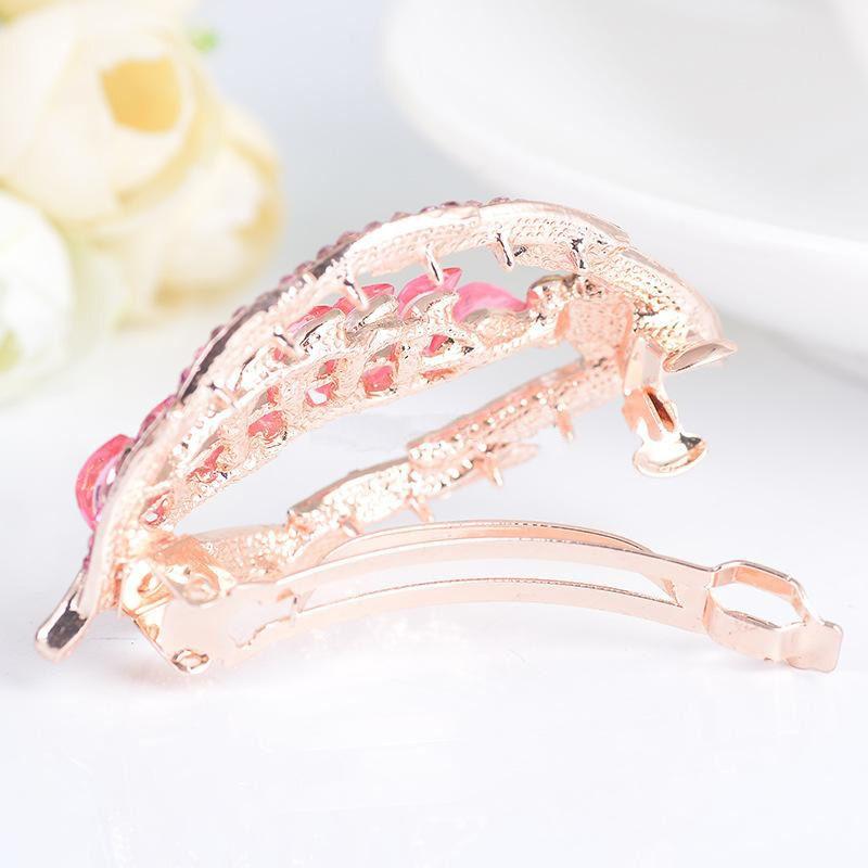Luxurious Crystal Rhinestones Leaf Shape Hairpin Clip Hair Barrette Fashion Clips Hair Jewelryclips Hair Accessories