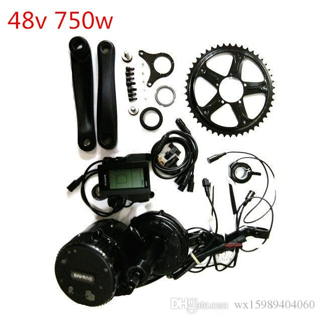 48V 750W 8fun/Bafang Mid Drive Central Motor C965 LCD BBS02 Latest Controller Crank Motor Eletric Bicycles Trike Conversion DIY Ebike Kits