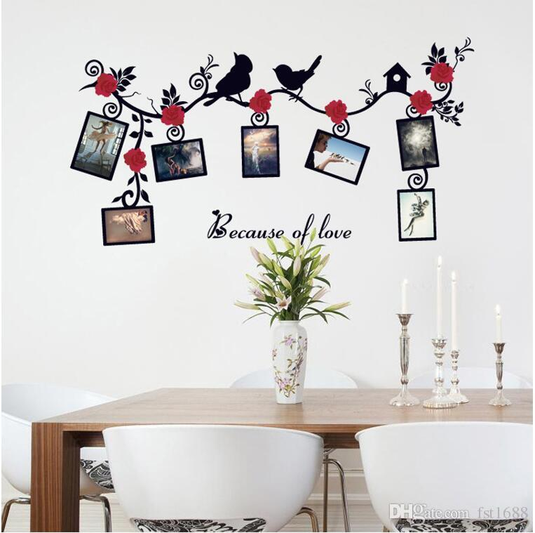 Sk6025 Flying Bird Red Flowers Wall Decals Photo Frame Vine Branches ...