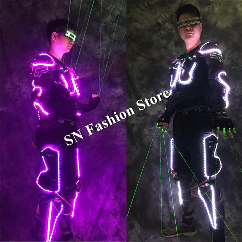 LZ29 Ballroom dance led costumes luminous robot suit men led glasses green laser cloth dancer dj stage show wears laser robot club gloves