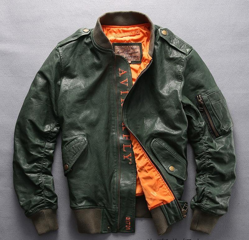 3 цвета AVIREXFLY Мужские куртки из натуральной кожи летный бомбер Куртки мужские Куртки из овчины Бейсбольный костюм