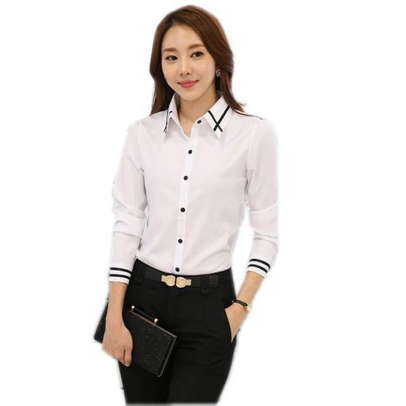 7a0480e688b 2019 Lassic Ladies Blouses Elegant Women Career Blue White Shirts Plus Size  S 5XL Long Sleeve Button Design Women Blusa 2018 Office Classic La.
