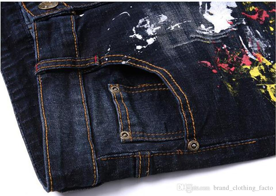 Cultivate one's morality men in Europe and the han edition of the new fashion personality hand-painted splash-ink cowboy pants/XS-4xl