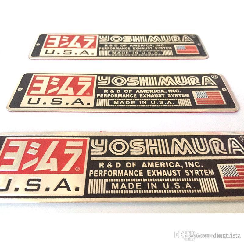 TKOSM 3 adet / grup Evrensel 140X40mm Alüminyum 3D Etiket Çıkartmaları Motosiklet Için Yoshimura Egzoz Susturucu Sticker Susturucu ...
