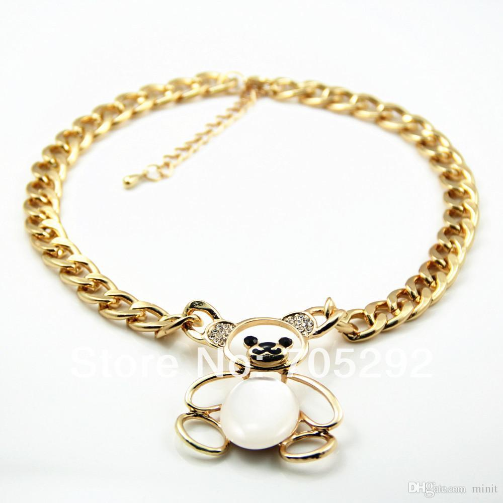 72c7f09c4b03 Compre Nuevo Collar De Oso De Animal De Cristal Dorado Vintage Colgante  Collar De Gargantilla Declaración A  28.15 Del Minit