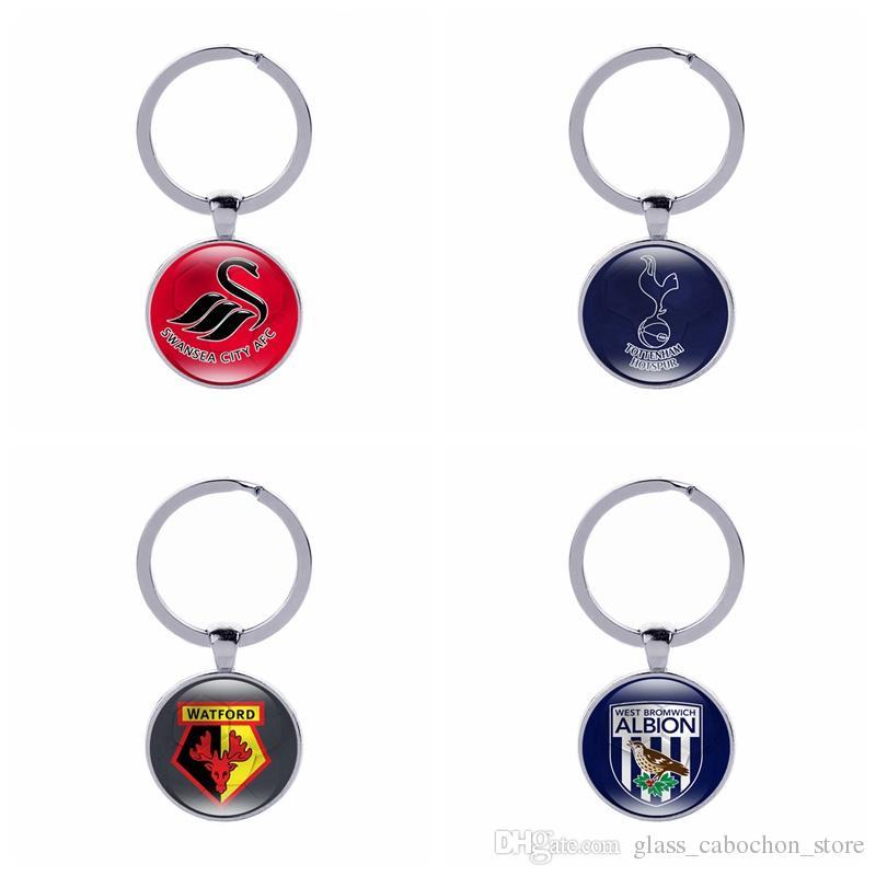 Fußball Club Keychain Fußball Fans Souvenir Geschenke Glas Cabochon Englisch Teams Logo Auto Schlüsselhalter Zubehör Sport Schlüsselanhänger Großhandel