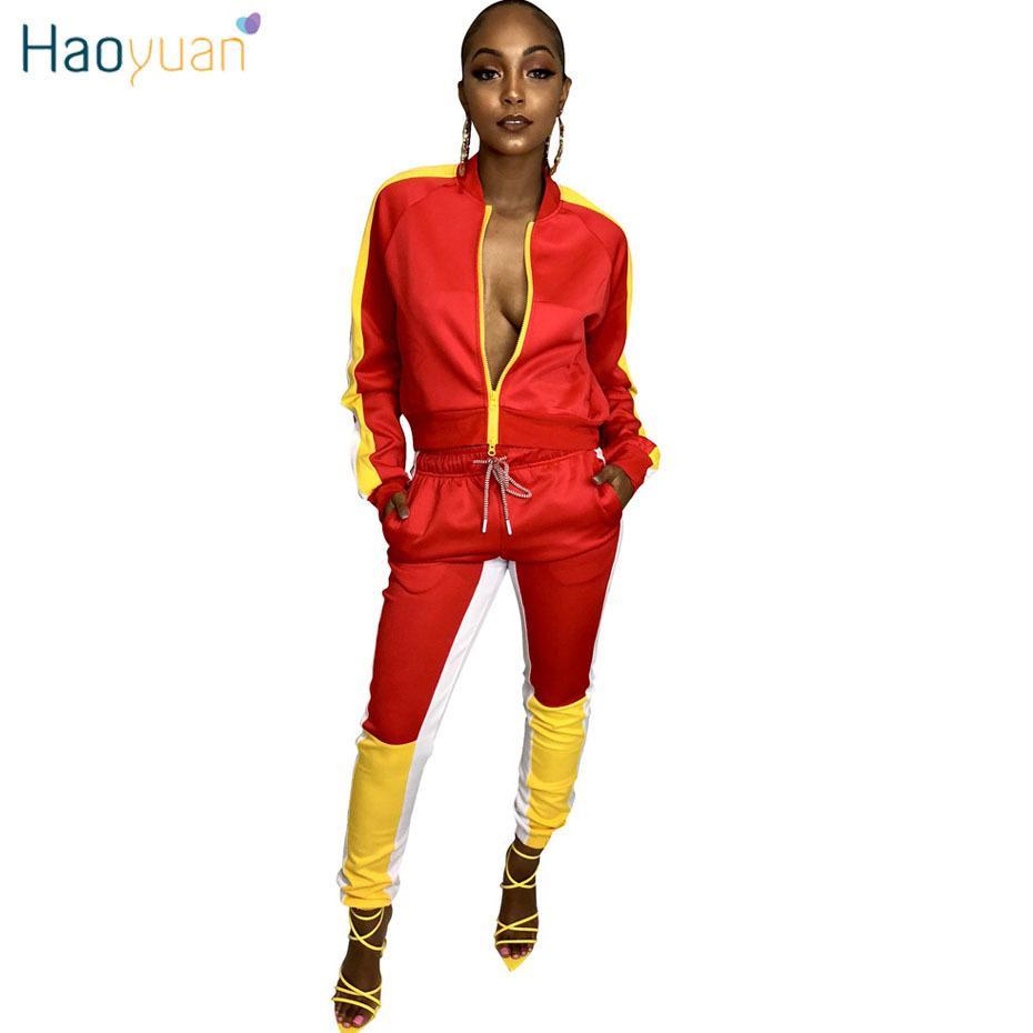 d54c145589e HAOYUAN Plus Size 2 Piece Set Sweatsuit Autumn Outfits Jacket Top+Pants  Sweat Suits Two Piece Matching Sets Tracksuit Women D18110706