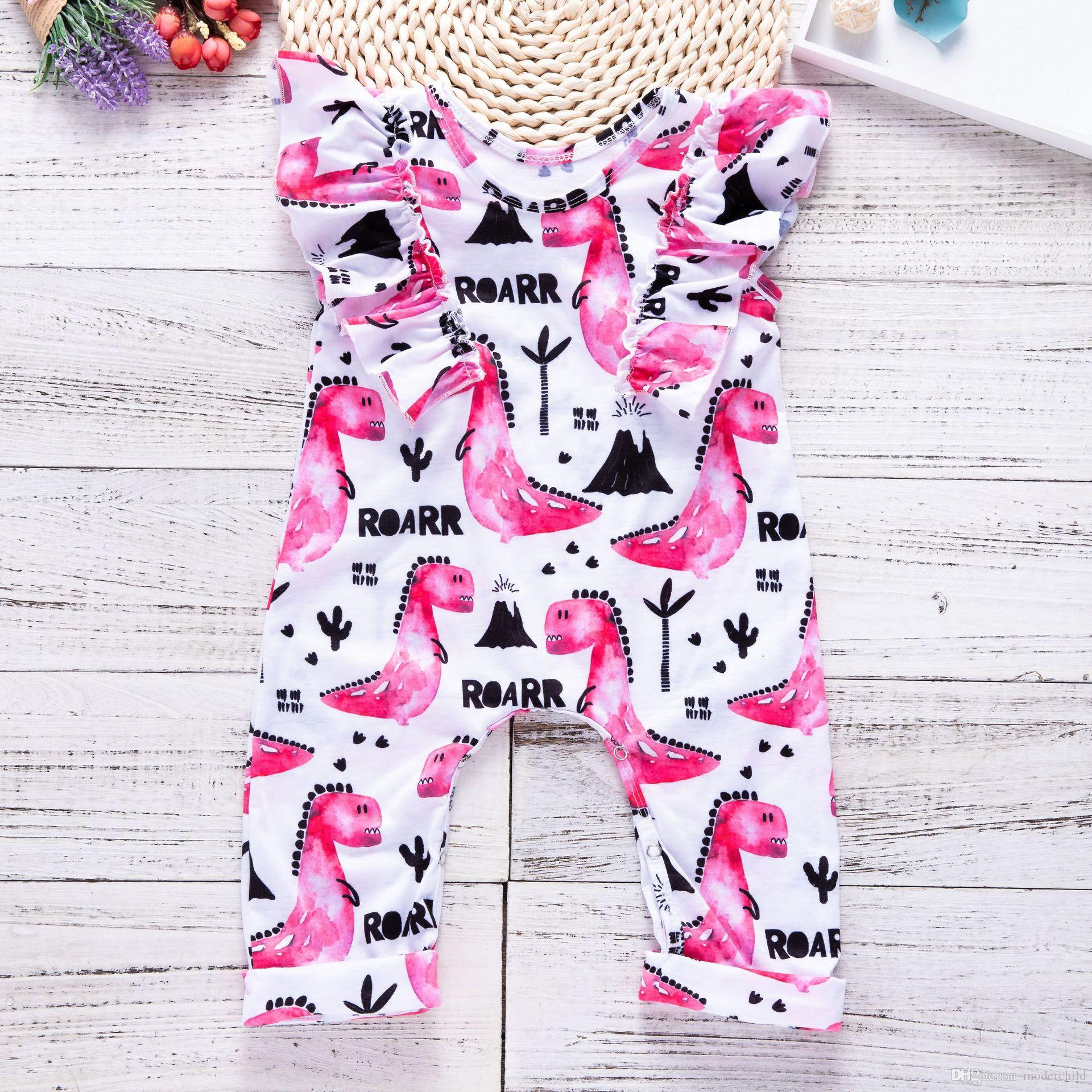 995a8987357 2019 2018 Ins Newborn Toddlers Summer Climb Romper Drawing Cartoon Baby Girl  Pink Dinosaur print Fly Sleeve Bodysuit From Moderchild