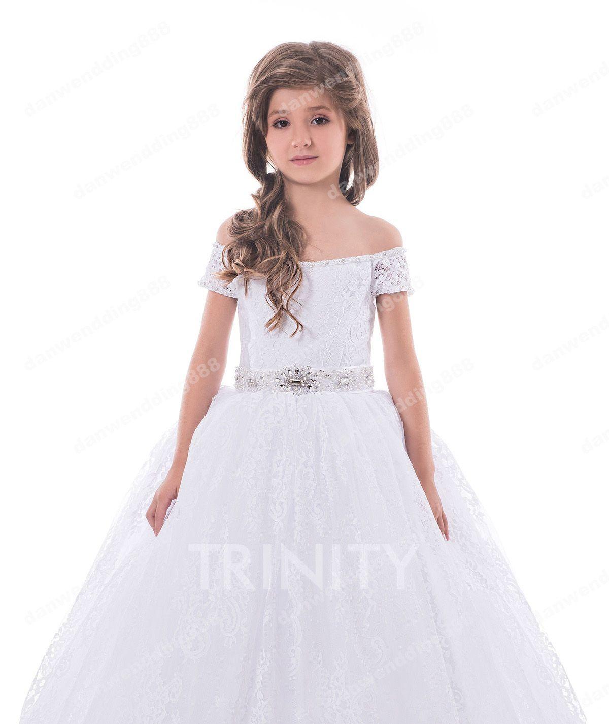 Beauty White Lace Off Shoulder Sash Flower Girl Dresses Princess Dresses Girl's Pageant Dresses Custom Made Size 2-6 8 10 12 14 KF327250