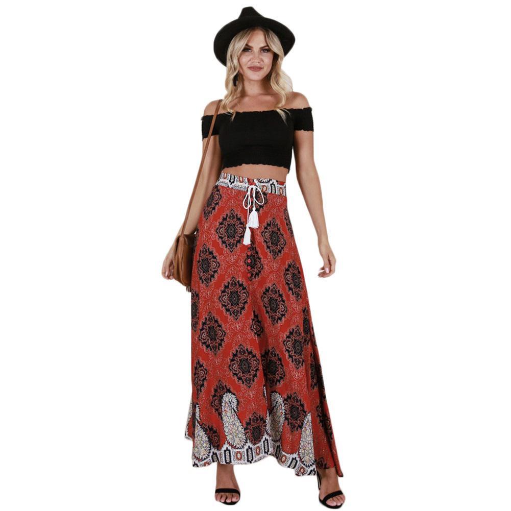 41daff1d7ce0 2019 2019 New Vintage Women Long Summer Skirt Tassel Print Long Skirt  Elastic High Waist Button Tie Up Boho Summer Beach Maxi Skirt From Your07,  ...