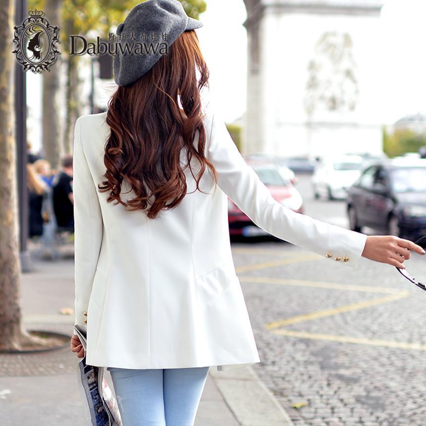 Dabuwawa Weiß Frühling Herbst Mode Single Button Blazer Femenino Damen Blazer Weiß Anzug
