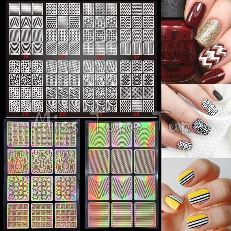 New Nail Art Stencils Stamping Stickers Multiple Use Vinyls Nail ...
