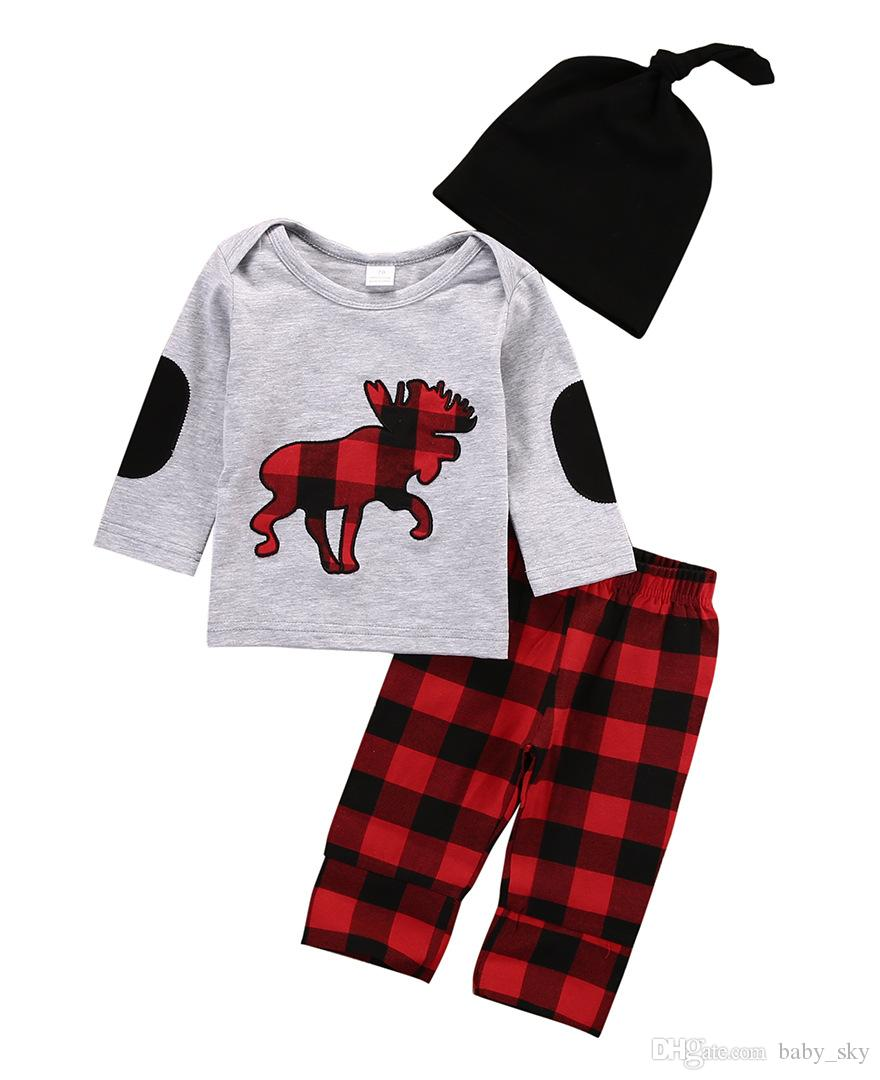 6a007ccca4a8 INS Kids Clothing Set Baby Clothes Christmas Deer Print Plaid Boys Girls  Fashion Tshirt Pants Hat Autumn Winter Outfits Kids Clothing Set Online  with ...