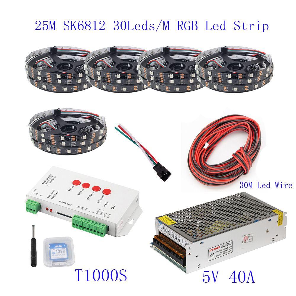 25M 20M 15M 10M 5M WS2812B LED Strip WS2812B IC 30 leds/M RGB Smart Pixel  Strip T1000S Led Controller 5V power supply