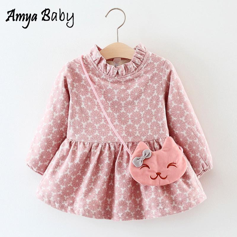 238a879c1b9b7 2019 AmyaBaby Infant Girls Dresses Long Sleeve Floral Princess Party Dresses  For Baby Girl Christmas Dress Thick Warm Winter Clothes Y18102007 From  Gou07, ...