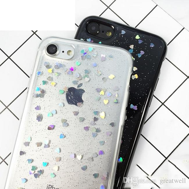 Love Heart Shining Romantic Shiny Sparkling Glitter Clear Soft TPU Phone Case For iPhone 11 Pro Max XS Max XR 8 7 6S Plus