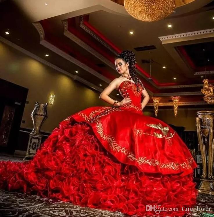 Sexy Sweetheart Red Embroidery Ball Gown Quinceanera Dresses Satindresses evening wear Lace Up Floor Length Vestido De Festa Sweet 16 Dress