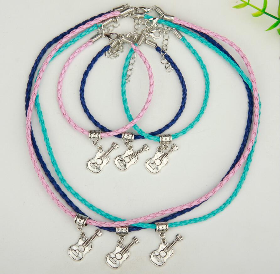 Hot 10Set Alloy Ancient Silver Electric Guitar Charm Pendant Multicolor Braided Rope Necklace Bracelet Set Women&Men Jewelry Holiday Gift