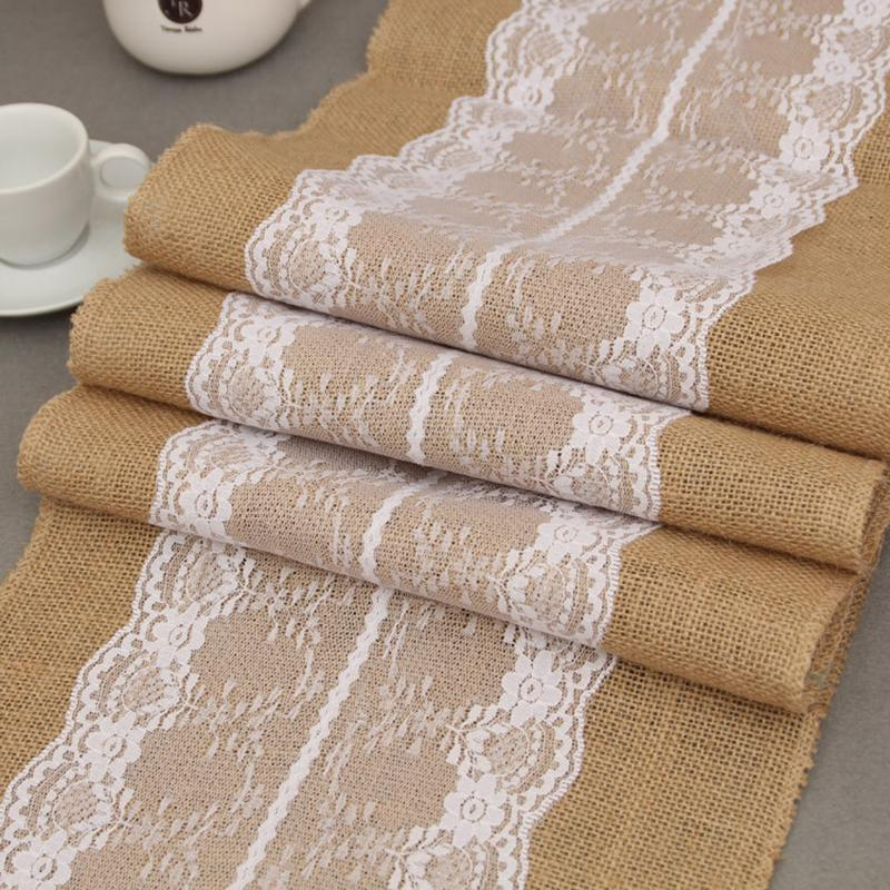 Jute Table Runner Burlap Lace Runner Wedding Table Wedding Decor ...