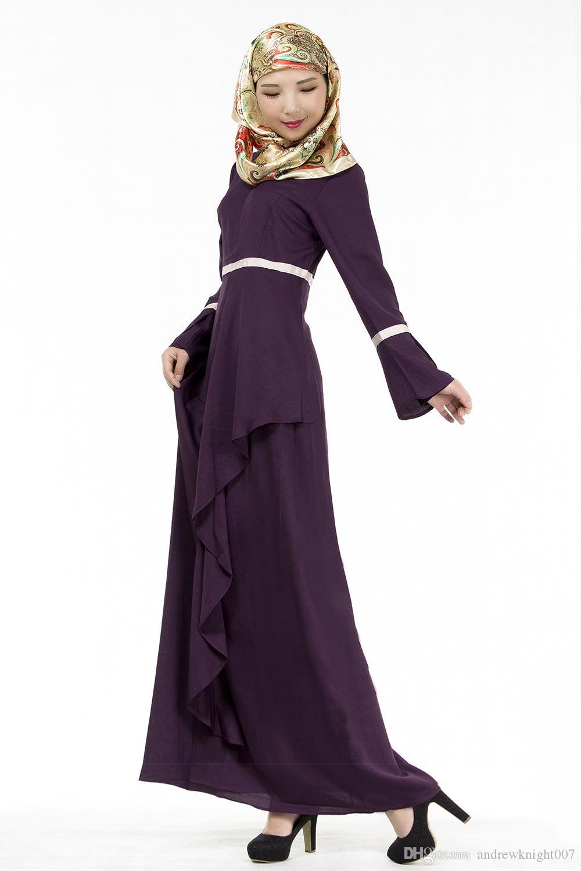 Muslim Womens Kaftan Abaya islamico abito da O-Collo manica lunga dell'impero della vita di lunghezza del pavimento Womens Etnica vestiti DK725MZ