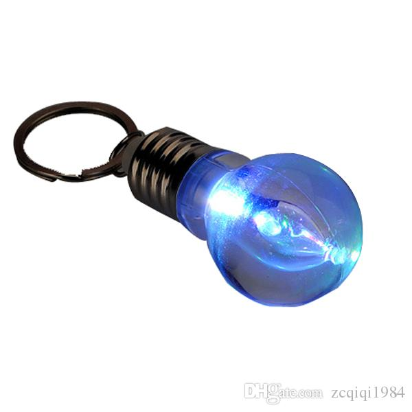 Creatived Colorful Changing LED Flashlight Light Mini Bulb Lamp Key Chain Clear Lamp Torch Keyring Novelty Christmas Gift