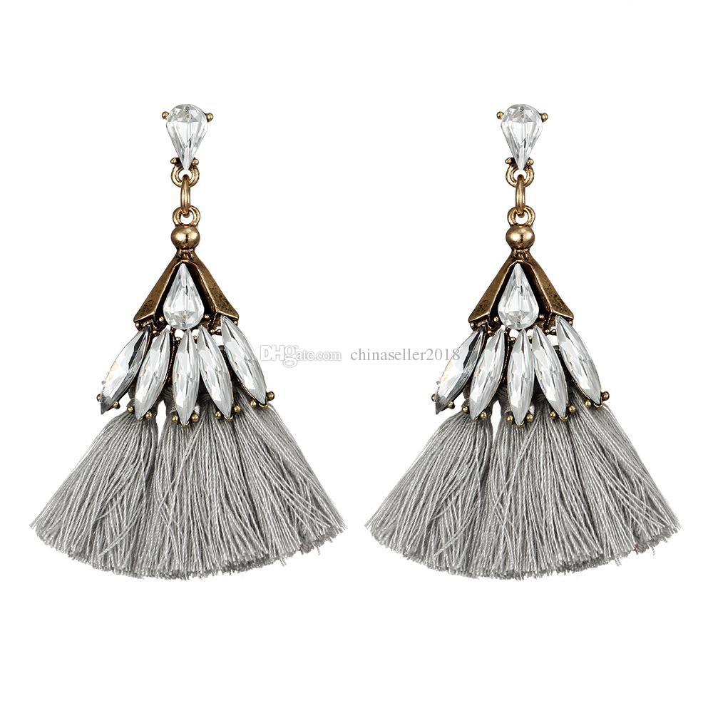 Ethnic Jewelry Silk Tassel Earrings For Women Earring Fashion Boucle Vintage Antique Hook Jewelry Accessories