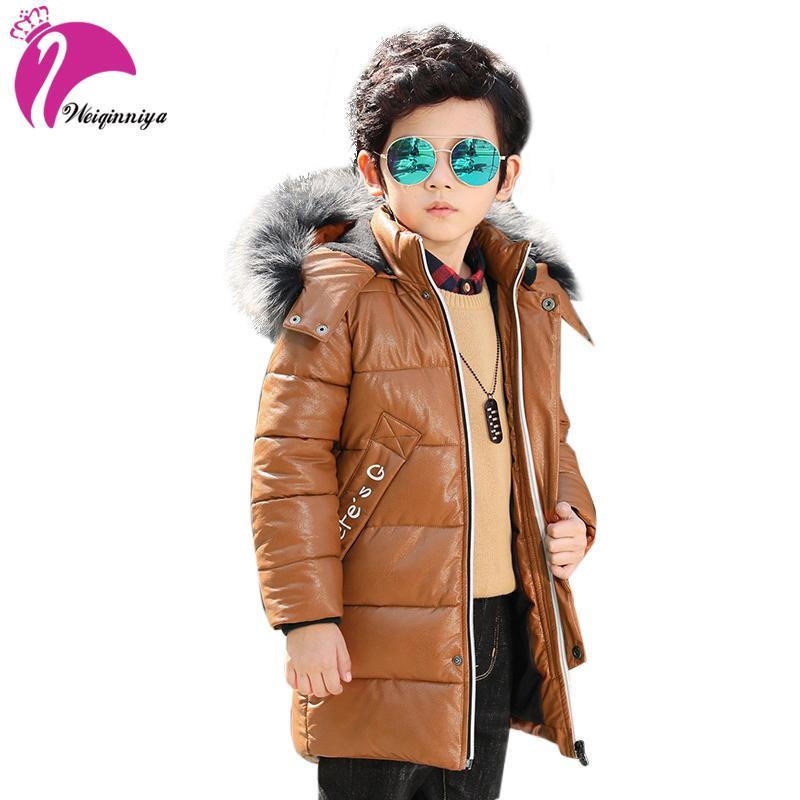 bd9c1c2be weiqinniya Boys Down Parkas Jackets Winter Kid PU Leather Jacket For Boy  Fashion Children Windbreaker Fur Hooded Jakcket For Boy