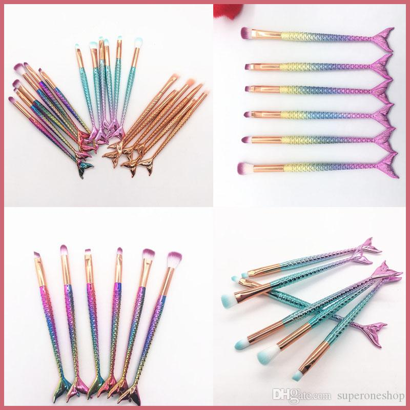 New Mermaid Makeup brushes Sets 3D Colorful Mermaid Makeup Brush set Foundation Powder Cream Blush Fish Tail make up brushes