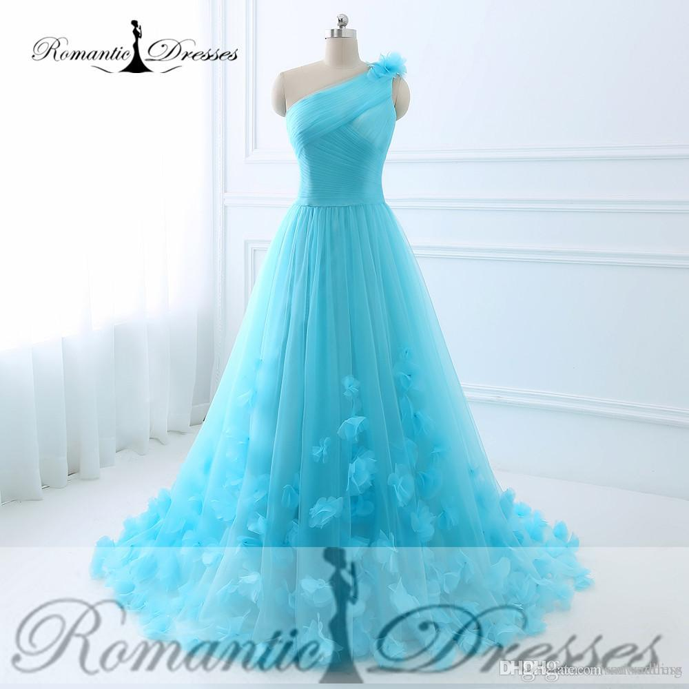2017 Evening Dresses 3d Flowers Tulle Blue One Shoulder Prom Dresses ...