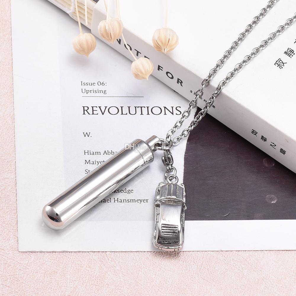 Cilindro hueco con la joyería conmemorativa de la cremación de la forma del coche para el diseño simple del acero inoxidable de la ceniza
