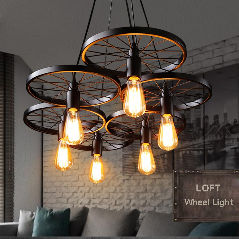 Russia pendant light vintage industrial lamp nordic metal wheel lights loft dining room lighting for chirstmas wedding decor pendant light pendants from