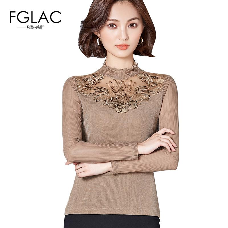 7154500437c FGLAC Women Blouse Shirt New Arrivals 2018 Fashion Mesh Tops Elegant Slim  Hollow out Lace Tops Plus Size Diamond Women Shirts Lace Top Lace Top Plus  Top ...