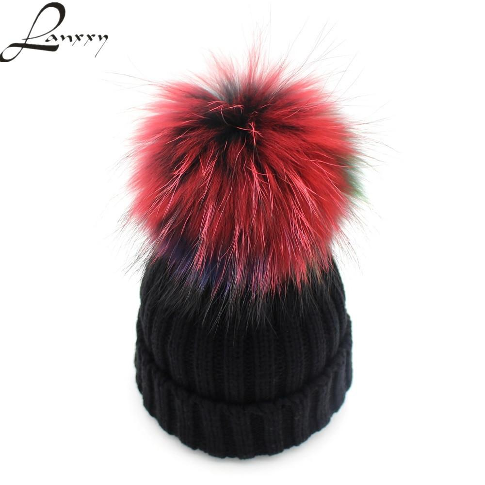 59ad91f4ad0fa Lanxxy Hot Real Mink Fur Pompom Hat Women Winter Beanies Skullies Bonnet Caps  Female Pom Poms Hats Cute Gorro Cap D18103006 Baby Sun Hat Knit Hat From ...