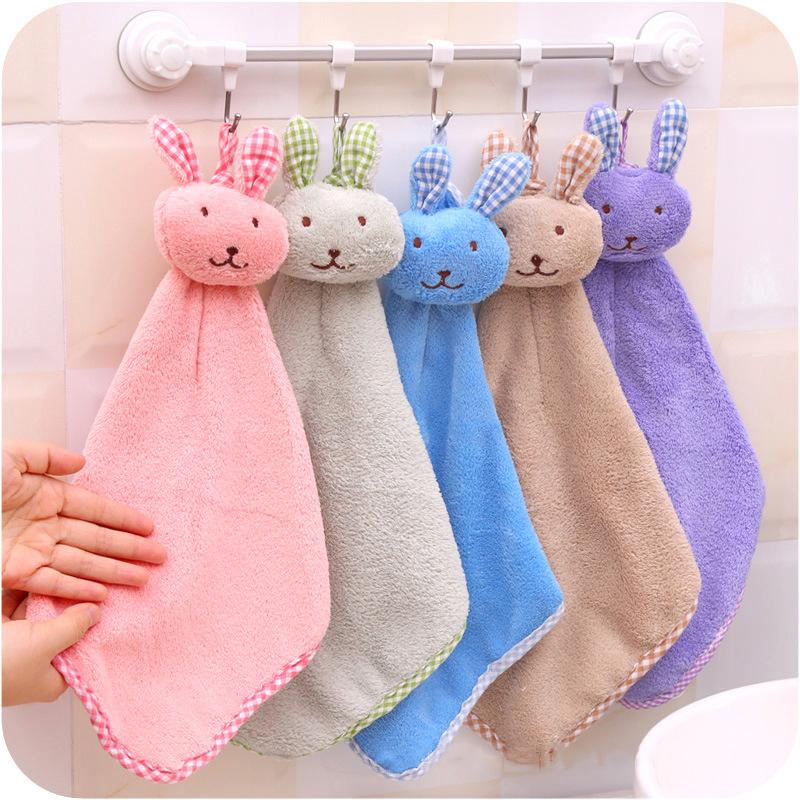 Cute Baby Nursery Rabbit Hand Towel Toddler Soft Plush Cartoon Animal Wipe Hanging Bathing Towel For Children Bathroom