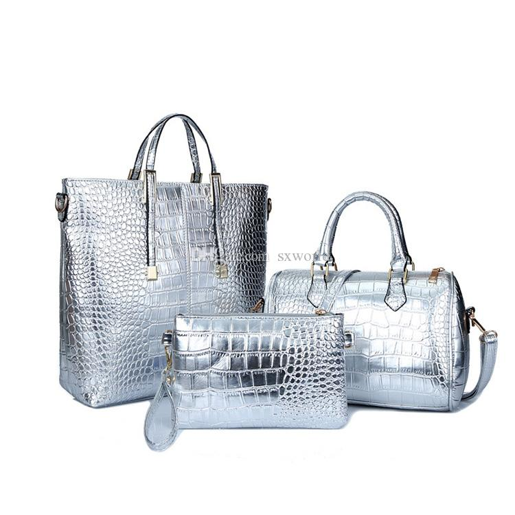 bec42e9db97f Silver Fashion Leather Three-piece Set of Women Shoulder Messenger Hand Bags  Set of Women Hand Bags Online with  21.41 Piece on Sxworld s Store