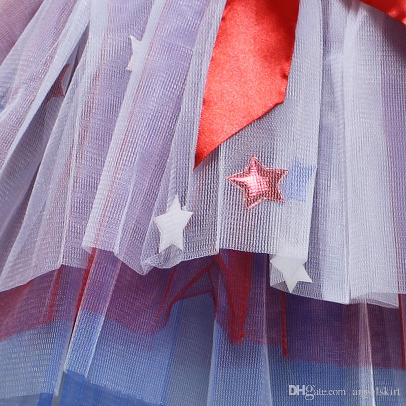 4th July New Royal Blue Red White Girls Skirt With Star Fashion Colorful Kids Tulle Dance Girls Tutu Skirt