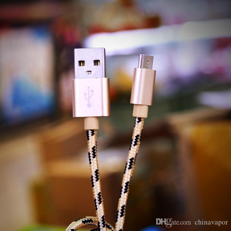 retail package Smartphone Cell Phone charging cables V8 3FT 1M Woven Cords Micro USB charger cable Fiber Fabric Braided Data Charger Cable
