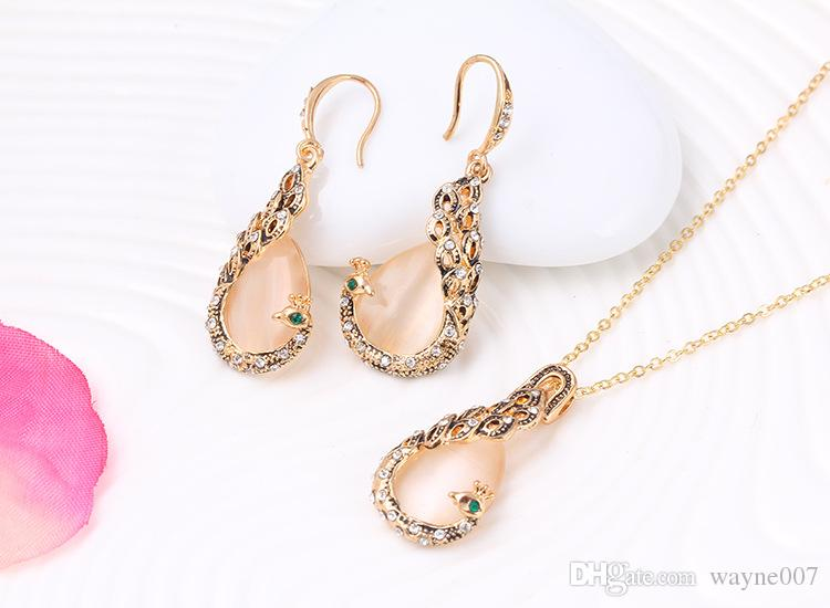Natural Opal Pecock Pendant Statement Crystal Phoenix Long Earrings Choker Necklaces Gold Plated Sets For Women Jewelry