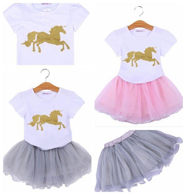 0498fb68fbea Unicorn Kids Baby Girl Outfit Clothes Cartoon T-shirt Top Tutu Tulle ...