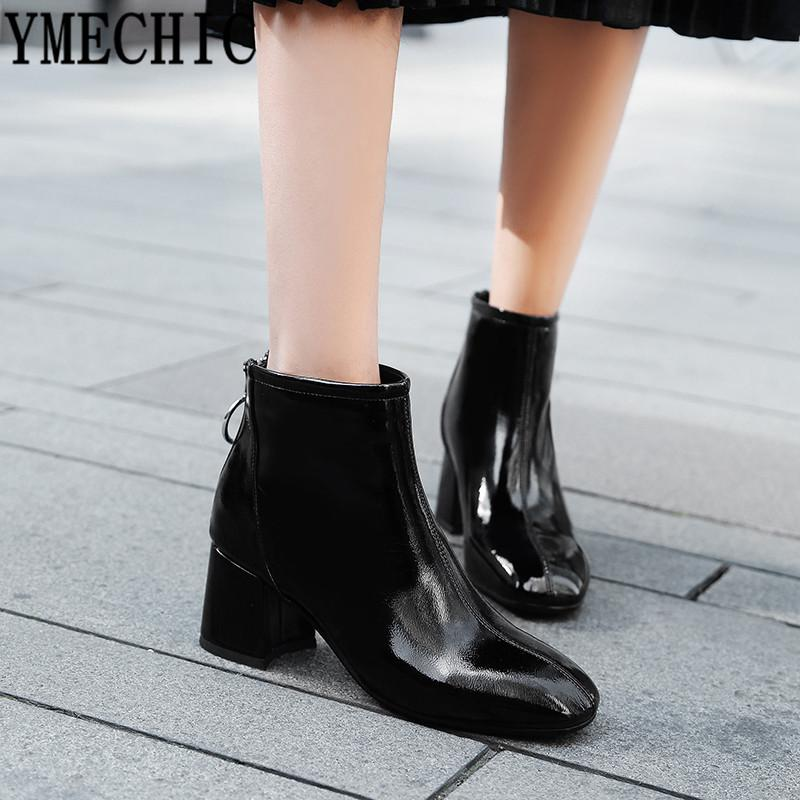 1f784a93038b0 YMECHIC 2018 Womens Patent Pu Leather Ankle Boots Plus Size Red Black Block  Heel Shoes Bootie Zipper Ring Winter Autumn Boots Boot Ankle Boots From  Chingkee ...