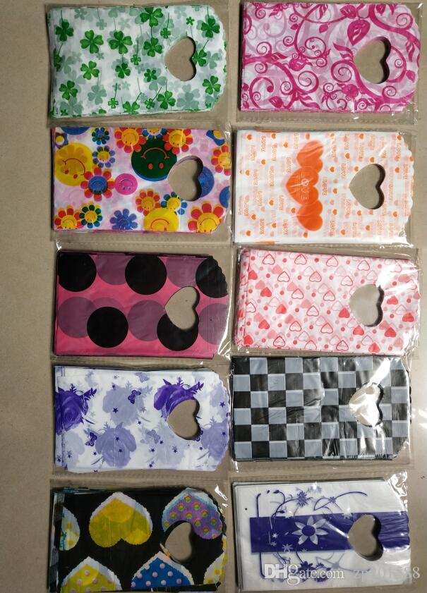 15X9cm Jewelry Pouches Heart Flowers Patterns Plastic Gift Bag Jewelry Pouches Bags Mixed style Jewelry Packaging Accessories