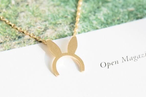 Fashion Gold-color silver plated Bunny Ears charm necklace Pendant Necklace for women gift Wholesale