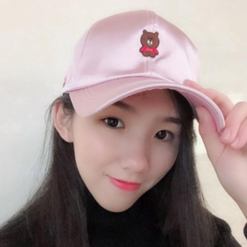 Satin Baseball Cap Women Bear Embroidery Dad Hat Hip Hop Cap For ... bcc14673e3d4
