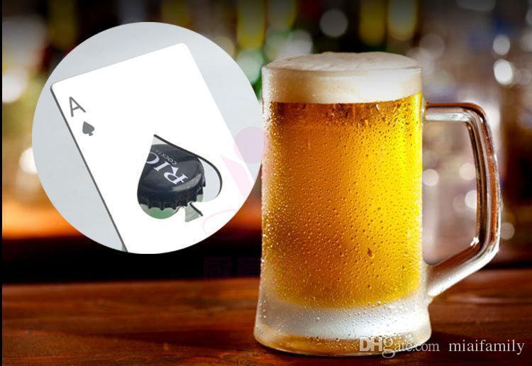 Apri di bottiglia di birra in acciaio inox picche Un portafoglio di strumento di bar di forma di carta da poker facile da trasportare colore argento dhl gratuito