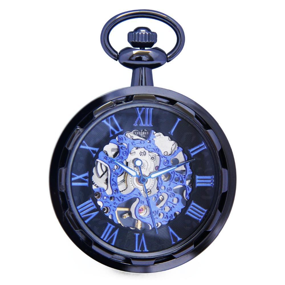 Cool Skeleton Hollow Roman Blue Analog Open Face Hand Winding Movement Mechanical Pocket Watch Clock Pendant Fobs Chain /WPK241
