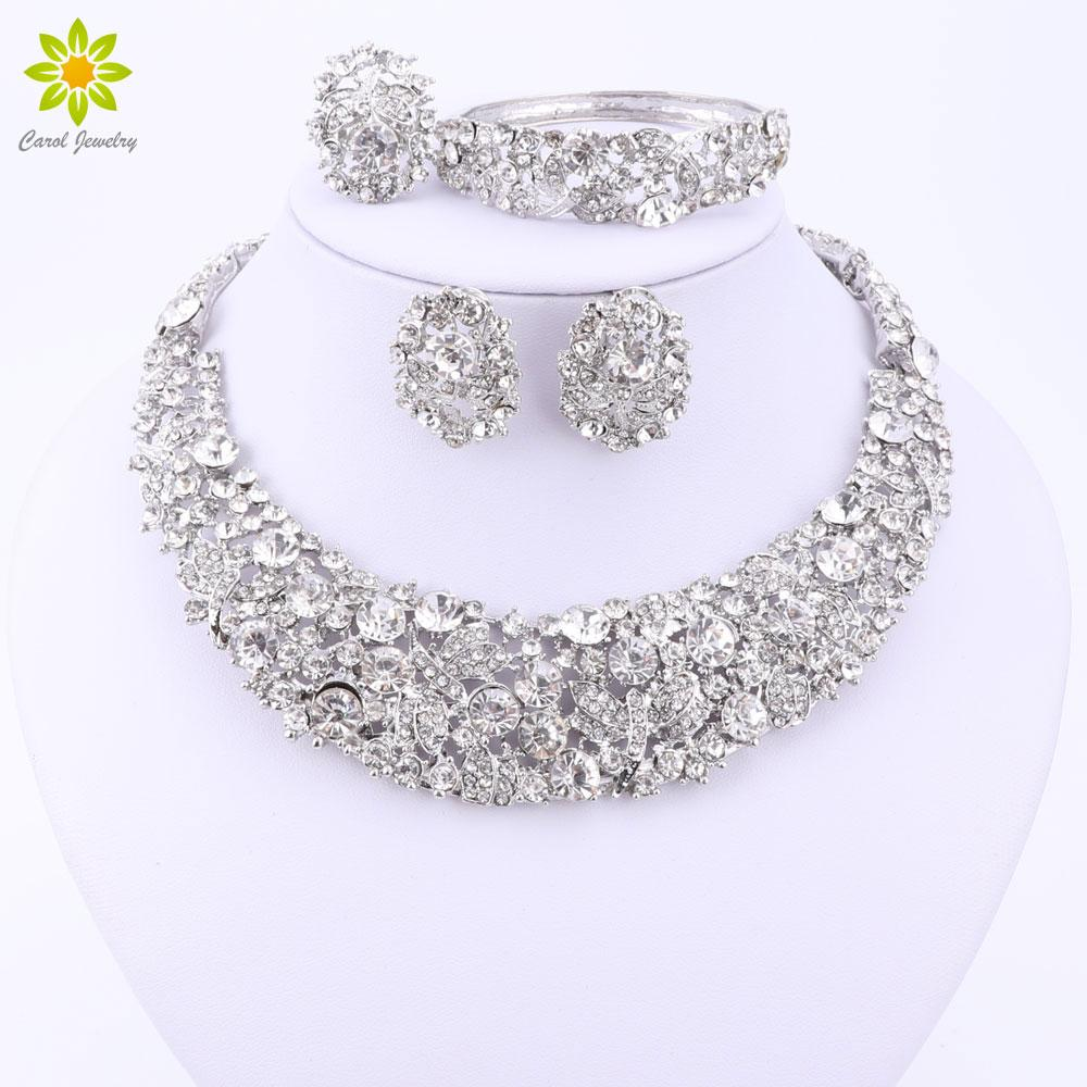 Nigerian African Beads Crystal Necklace Sets Silver Color Jewelry Set Wedding Accessories Party