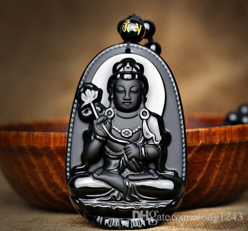 Natural A cargo obsidian natal Buddha pendant male and female necklace  chain to the Buddha zodiac is the patron saint of the horse