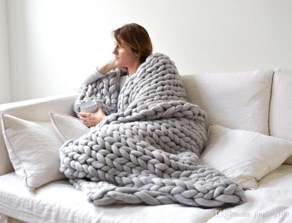 Cilected Warm Arm áspero grueso hecho a mano de punto manta a cuadros sofá cama invierno ganchillo línea fotografía apoyos grueso manta de punto